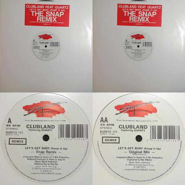 """Clubland feat Quartz  Let's Get Busy (Pump It Up) Single 12"""" 1990 Vvv-445e154"""